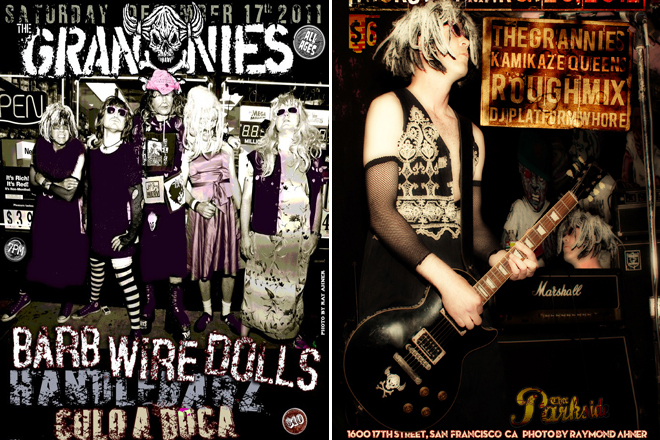 Show Posters for San Francisco band, The Grannies. Photos by Raymond Ahner / Designs by Sluggo