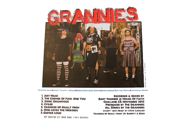Grannies / Hickoids split LP album insert.Saustex Records. Photo by Raymond Ahner