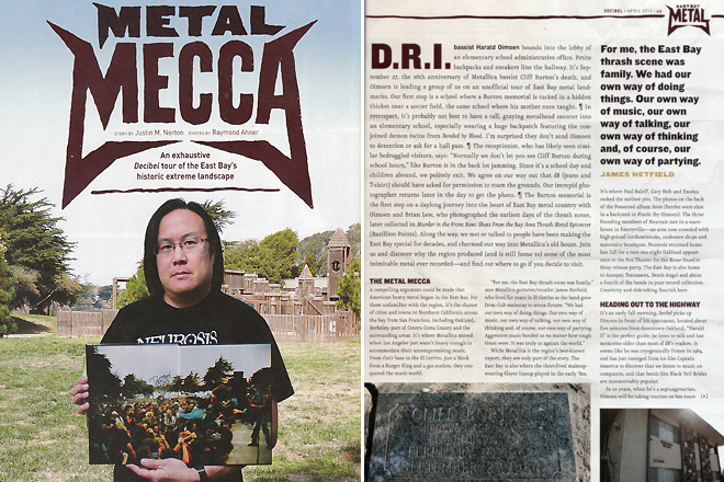 Decibel Magazine Issue 102. 'Metal Mecca' feature story. Pages 44 and 45. Photos by Raymond Ahner.