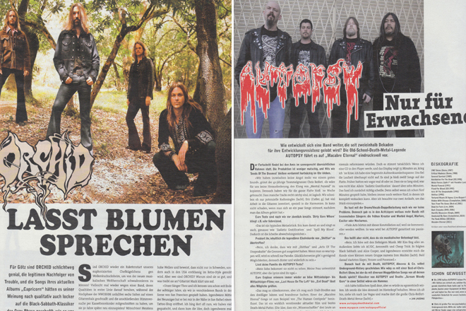 Rock Hard Magazine Issue 290, Pages 44 and 54. Photos by Raymond Ahner.