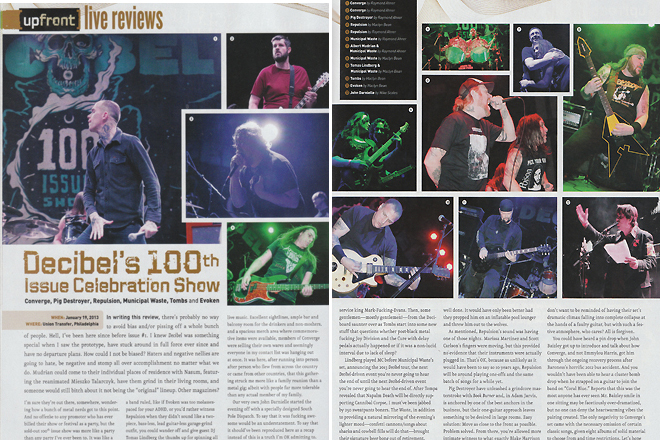 Decibel Magazine Issue 102. Pages 16-17. Photos 1-3, 5-7 by Raymond Ahner.