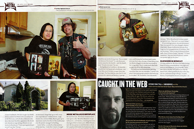 Decibel Magazine Issue 102. 'Metal Mecca' feature story. Pages 46 and 47. Photos by Raymond Ahner