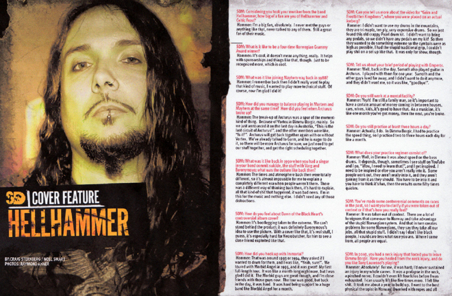 Sick Drummer Magazine Issue 8, page 14-15. Photo by Raymond Ahner.