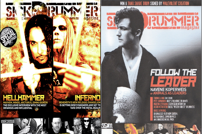 Sick Drummer Magazine Covers, Issue 8 and Issue 17. Hellhammer and Navene Koperweis photos by Raymond Ahner.